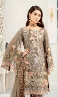 Embroidered Chiffon front with sequins– 30 inch Embroidered Chiffon back – 30 inch Embroidered Chiffon sleeves – 1.25 Meter Embroidered tissue sleeves lace – 1.25 Meter Embroidered tissue ghera lace – 1.5 Meter Embroidered Chiffon dupatta – 2.50 Meter Raw Silk trouser – 2.5 Meter Embroidered tissue trouser patch