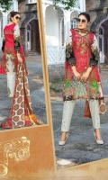 Printed Embroidered Lawn Shirt Printed Chiffon Dupatta Printed and Embroidered Trouser