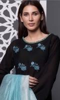 3 Meters Embroidered Lawn Shirt  2.5 Meters Net Dupatta  2.5 Meters Trouser