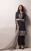 Shirt Front 1.25 Mtr Emb Shirt Back + Sleeves 1.75 Mtr Emb Trouser 2.5 Mtr Fancy Net Dupatta 2.5 Mtr