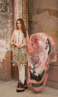 Digital Printed Shirt                                           2.5 meters  Digital Printed Sleeve                                       0.67 meters  Digital Printed Pure Chiffon Dupatta             2.5 meters  Embroidered Neckline Patti  Embroidered Trouser Patch  Printed Cambric Trouser                                   2.5 meters