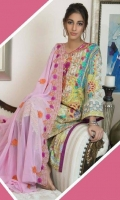 3 pcs unstitched digital printed and embroidered Lawn with embroidered Chiffon dupatta