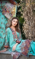 Shirt: Digital Printed Embroidered Lawn (3 Mtr) Duppatta: Digital Printed Zari Lawn (2.5 Mtr) Trouser: Dyed Premium Cotton (2.5 Mtr)