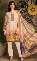 Shirt: Luxury Lawn Digital Printed Chikan Kari Embroidered front with Digital Printed back and sleeves (3 Mtr) Duppatta: Digital Printed Pure Embroidered Bemberg Chiffon (2.5 Mtr) Trouser: Premium Dyed Cotton (2.5 Mtr)
