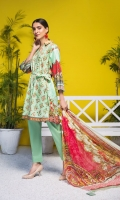Shirt: Luxury Lawn Saffron Digital Embroidery + Chikan Kari Embroidery front with Digital Printed back and sleeves (3 Mtr) Dupatta: Digital Printed Pure Bambar Chiffon (2.5 Mtr) Trouser: Premium Dyed Cotton (2.5 Mtr)
