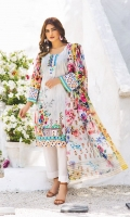 Shirt: Luxury Lawn Digital Printed Chikan Kari Embroidery front with Digital Printed back and sleeves (3 Mtr) Duppatta: Digital Printed Pure Embroidered Bambar Chiffon (2.5 Mtr) Trouser: Premium Dyed Cotton (2.5 Mtr)