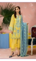 Shirt: Lawn embroidey 3 meter. Dupatta: Embroidered Chiffon 2.5 meter. Trouser: Cotton 2.5 meter.