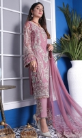 CHIFFON WITH HAND MADE, DUPPATA 2.5 MTR NET EMBROIDERED & 2.5 MTR COTTON TROUSER