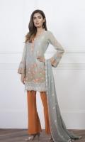 Shirt: Lawn Zari (Machine and hand Embroidered) Dupatta : Chiffon 5 Meter Trouser: Cotton 2.5 Meter