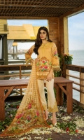 3 Meters Pure Lawn 2.5 Meters Trouser Fabric 2.5 Meters Chi­ffon Dupatta Heavy Embroidered Neck 2 Heavy Embroidered Trouser Patches