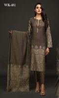 Two-Tone Pure Lawn Jacquard Shirt (Dyed Yarn) .Organza Lawn Dupatta. .Self-Jacquard Cambric Trous