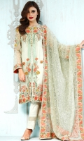 Shirt Front : 1.15 Meters Shirt Back : 1.15 Meters Sleeves : 0.46 Meters Sleeves Lace : 0.9 Meters Trouser : 2.30 Meters Dupatta : 2.30 Meters Dupatta border : 6.1 Meters