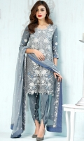 Shirt Front : 1.15 Meters Shirt Back : 1.15 Meters Sleeves : 0.69 Meters Trouser : 2.30 Meters Dupatta : 2.30 Meters