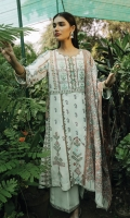 Cross Stitch Embroidered bodice Cross Stitch Embroidered Front Panel Cross Stitch Embroidered Side Kali 2 pcs Cross Stitch Embroidered Side Lace 2 pcs Digital Printed Back Digital Printed Sleeves Hand Weaved Wool Shawl Dyed Trouser Embroidered Lace for Front and Trouser