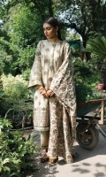 Digital Printed Front Digital Printed BackDigital Printed Sleeves Embroidered Karandi Shawl with Chawal Tanka Dyed Trouser 2 Schiffli Laces for Sleeves
