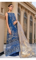 Front: jacquard Front neckline: 1pc embroidered on organza Front boarder: 1pc embroidered on organza Back: jacquard Back boarder: 1pc embroidered on organza. Dupatta: 2.5-meter Foil print on organza Trouser: 2.5 meter on cambric