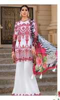 Front: full embroidered on lawn Front neckline: 1pc embroidered on organza Front boarder: 1pc embroidered on organza Back: digital print on lawn Sleeves: digital print. Sleeve's patch: 1pc embroidered on organza. Dupatta: 2.5-meter digital print on silk. Trouser patch: 1pc embroidered on organza Trouser: 2.5 meter on cambric