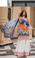 Front: digital print 1pc on lawn Front Neckline: 1pc on organza embroidered Front back board: 1pc on organza embroidered Back: digital print 1pc Sleeves: digital print on lawn Sleeve's patch: 1pc embroidered on organza Dupatta: 2.5-meter digital print on chiffon Trouser patch: 1pc on organza embroidered Trouser: 2.5 meter on cambric