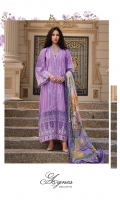 Front: full embroidered on lawn. Front neckline: 1pc on organza embroidered. Front daman: 1pc on organza embroidered. Front board: 1pc on organza embroidered. Selves: 1pc on embroidered lawn. Selves patch: 1pc on embroidered lawn. Back: Embroidered on lawn. Back daman: 1pc on organza embroidered. Back board: 1pc on organza embroidered. Dupatta: 2.5-meter digital print on silk. Trousers:2.5 meter on cambric.