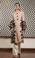 A taupe pink marina kurta, embellished with black velvet patchwork and beaded buttons on the neckline.