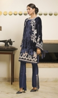 Ooh la la! This midnight-blue plush velvet kurta contains pastel embroideries and an embellished neckline. The perfect evening piece!