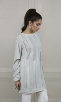 A gorgeous sky-blue pleated kurta in grip fabric, complete with pearl details on the shoulder and trendy cowel sleeves.