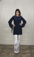 An eyecatching midnight-blue pleated kurta in grip fabric, complete with beaded neckline details and trendy cowel sleeves.