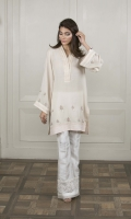 A baby pink shawl fabric kurta featuring pastel embroideries and pleated satin details.