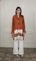A pintucked rust orange marina kurta featuring lace details on the hemline, fun tie-sleeves and stones on the neckline.