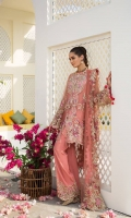 A swing shirt deep coral scalloped front open jacket. Accentuated by bunches of resham and tilla embroidery. And chermeuse finishes and beautifully embellished shirt with hanging dip dye pearl and triangle tassels paired with net embroidery patch trouser and net patch embroider dupatta. Slip is also included.