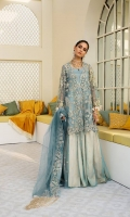 A high low paradise blue jacket with off white and tilla embroidery with sequins consisting of laser cut hanging crystal tassels. Paired with double flared satin and net with intricate embroider trouser and embroided dupatta with satin finishes.