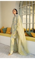 Soft yellow organza shirt with floral embroidery fully embellished with crystals, pearls and multi with hanging pearls tassels. Paired with fully worked pants and dupatta cotton slip also included.