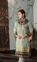 EMBROIDERED FRONT PRINTED BACK AND SLEEVES EMBROIDERED BORDER FOR FRONT CHIFFON PRINTED DUPATTA PLAIN TROUSER