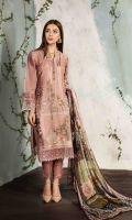 EMBROIDERED FRONT                                                     EMBROIDERED BACK EMBROIDERED PIECE FOR FRONT EXTENSION PLAIN SLEEVES EMBROIDERED BORDER FOR FRONT AND BACK ORGANZA EMBROIDERED BORDER FOR FRONT BACK AND SLEEVES                                                       CHIFFON PRINTED DUPATTA                                                   PLAIN TROUSER