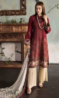 EMBROIDERED FRONT                                            EMBROIDERED BACK                                                        PLAIN SLEEVES                                                EMBROIDERED BORDER FOR FRONT AND BACK EMBROIDERED BORDERS FOR SLEEVES                         CHIFFON PRINTED DUPATTA                                                   PLAN TROUSER