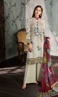 PRINT EMBROIDERED FRONT PRINTED BACK, SLEEVES AND FRONT BORDER CHIFFON PRINTED DUPATTA PLAIN TROUSER