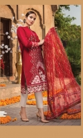 LAWN EMBROIDERED FRONT LAWN EMBROIDERED BACK LAWN EMBROIDERED SLEEVES ORGANZA EMBROIDERED BORDER FOR FRONT AND BACK ORGANZA EMBROIDERED BORDER FOR SLEEVES NET EMBROIDERED DUPATTA NET EMBROIDERED PALLU FOR DUPATTA PLAIN TROUSER