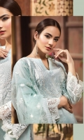 LAWN EMBROIDERED FRONT LAWN EMBROIDERED BACK LAWN EMBROIDERED SLEEVES ORGANZA EMBROIDERED BORDER FOR FRONT ORGANZA EMBROIDERED BORDER FOR BACK ORGANZA EMBROIDERED BORDER FOR SLEEVES POLY NET EMBROIDERED DUPATTA PLAIN TROUSER