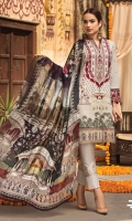 SLUB LAWN EMBROIDERED FRONT SLUB LAWN EMBROIDERED BACK SLUB LAWN EMBROIDERED SLEEVES ORGANZA EMBROIDERED BORDER FOR FRONT AND BACK ORGANZA EMBROIDERED BORDER FOR SLEEVES ORGANZA EMBROIDERED BORDER FOR TROUSER MEDIUM SILK PRINTED DUPATTA PLAIN TROUSER