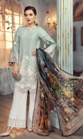 Lawn Embroidered Front  Lawn Embroidered back  lawn Plain sleeves Organza embroidered border for front Organza embroidered border for back Organza embroidered border for sleeves Lawn printed facing Pure tissue silk printed dupatta  Organza embroidered border for trouser Plain trouser