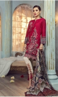 Jacquard Lawn Embroidered Front Jacquard Lawn Embroidered back  Lawn embroidered sleeves Lawn embroidered border for front Lawn embroidered border for back Lawn embroidered border for sleeves Lawn printed border for sleeves Crinkle chiffon printed dupatta  Plain trouser