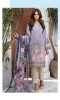LAWN PRINT EMBROIDERED FRONT LAWN PRINTED BACK LAWN PRINTED SLEEVES LAWN PRINT EMBROIDERED BORDER FOR FRONT CRINKLE CHIFFON PRINTED DUPATTA PLAIN TROUSER