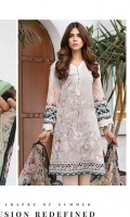 LAWN PRINT EMBROIDERED FRONT LAWN PRINTED BACK LAWN PRINTED SLEEVES LAWN PRINTED BORDER FOR FRONT CRINKLE CHIFFON PRINTED DUPATTA PLAIN TROUSER
