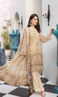 Chiffon Embroidered Front Chiffon Embroidered Back Chiffon Embroidered Sleeves Organza Embroidered Border for Front and Back Organza Embroidered Border for Sleeves Chiffon Embroidered Dupatta Chiffon Embroidered Pallu for Dupatta Plain Trouser