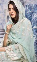 Chiffon Embroidered Front Chiffon Embroidered Extension for Front Chiffon Embroidered Back Chiffon Embroidered Sleeves Organza Embroidered Border for Front and Back Organza Embroidered Border for Sleeves Chiffon Embroidered Dupatta Plain Trouser