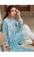Neps Lawn Embroidered Front And Back Neps Lawn Embroidered Sleeves Organza Embroidered Neckline Patch Organza Embroidered Border For Front And Back Organza Embroidered Border For Sleeves Organza Embroidered Pallu Chiffon Embroidered Dupatta Plain Trouser