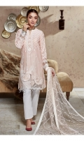Slub Lawn Sequence Embroidered Front Slub Lawn Embroidered Back Slub Lawn Embroidered Sleeves Organza Sequence Embroidered Patch For Front Organza Sequence Embroidered Border For Back Organza Sequence Embroidered Border For Sleeves Net Embroidered Dupatta Plain Trouser