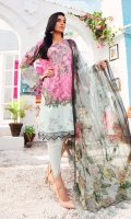 Digital printed embroidered shirt	3.0 m Embroidered organza border	1.0 m Dyed cambric trousers	2.5 m Digital crinkle chiffon dupatta	2.5 m
