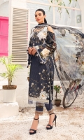 Digital printed shirt + embroidered patch  3.0 m x 1  Embroidered organza border	1.0 m Dyed cambric trouser + embroidered patches  2.5 m x 2  Digital printed crinkle chiffon dupatta	2.5 m