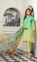 Three Pcs Luxury Lawn With  Crinkle Dupatta